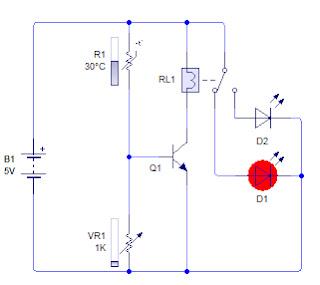 Rangkaian sensor suhu, ketika suhu panas