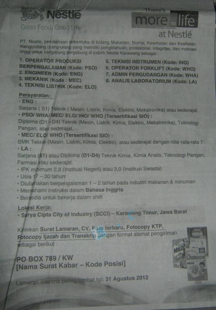 Indonesia - Recruitment SMK, Diploma, S1 Nestlé Karawang August 2012