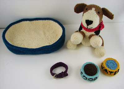 knit dog puppy water food dish toy