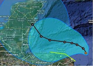 Atlantik / Karibik aktuell: Tropisches Tief 18 (96L) voraussichtlich als Tropischer Sturm RINA nach Belize / Yucatán, Tropische Depression, Rina, Honduras, Belize, Yucatán, Vorhersage Forecast Prognose, Verlauf, Zugbahn, aktuell, Atlantik, Oktober, 2011, Hurrikansaison 2011,