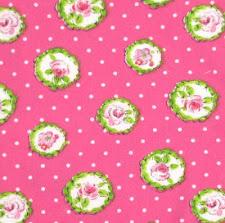 Tela puntitos rosa y flores