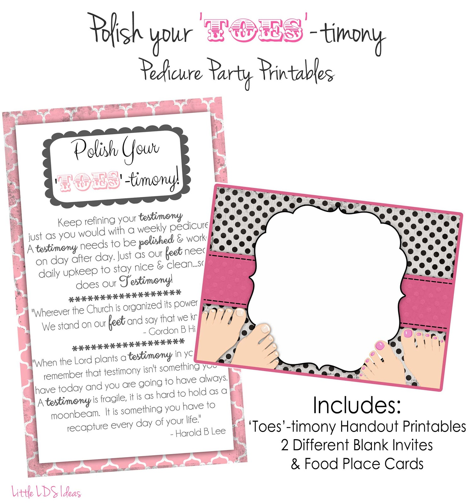 RS Activity Idea Polish Your Toestimony Pedicure Party – Pedicure Party Invitations