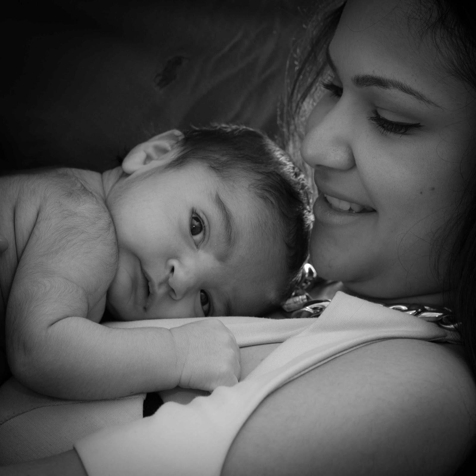Baby and mum black and white