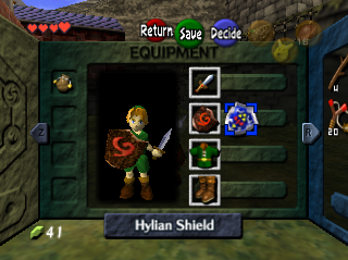 Ocarina of Time menu equipment screen