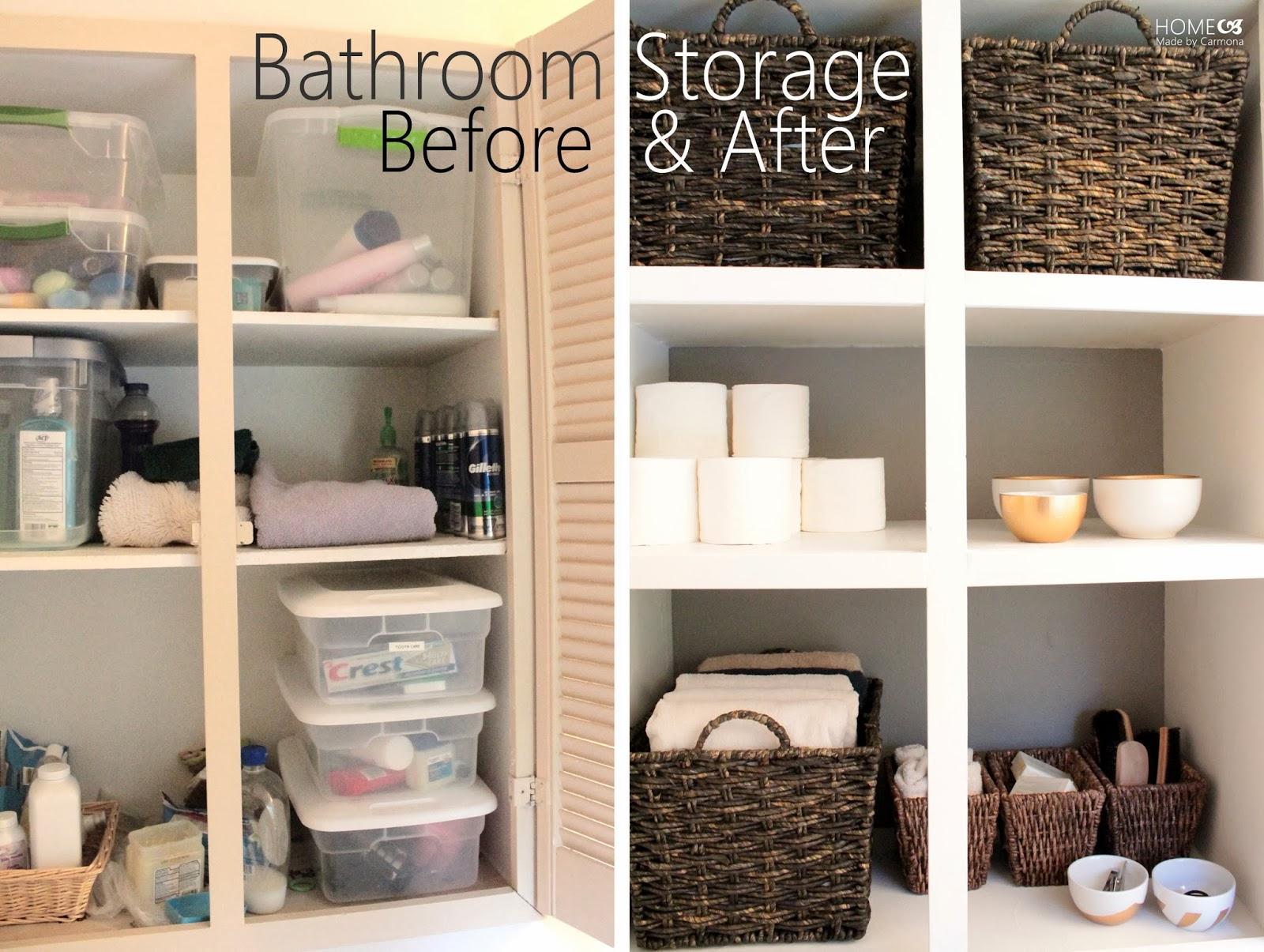 Recessed bathroom storage cabinet