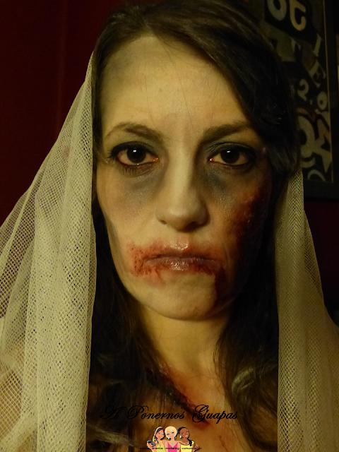 Maquillaje halloween novia zombie Oriflame 3