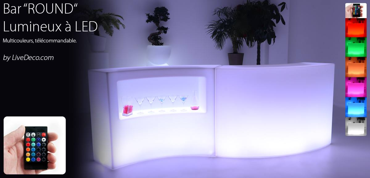 Bar round lumineux led by livedeco for Bar lumineux