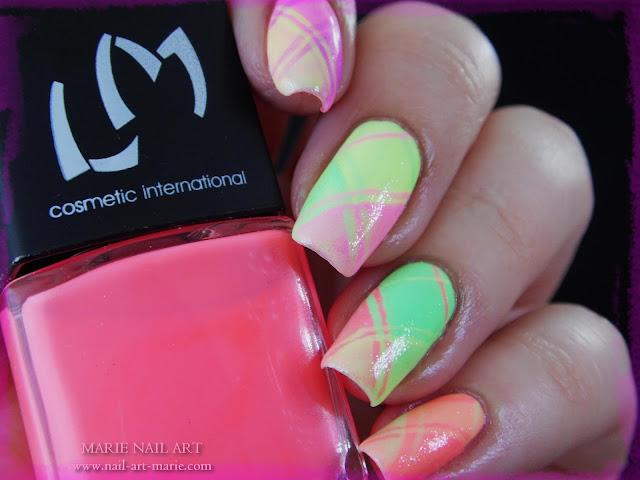 Nail Art Ecossais Pastel Fluo4