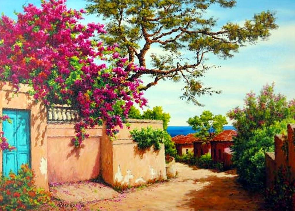 paisajes-con-flores-y-casa-antiguas