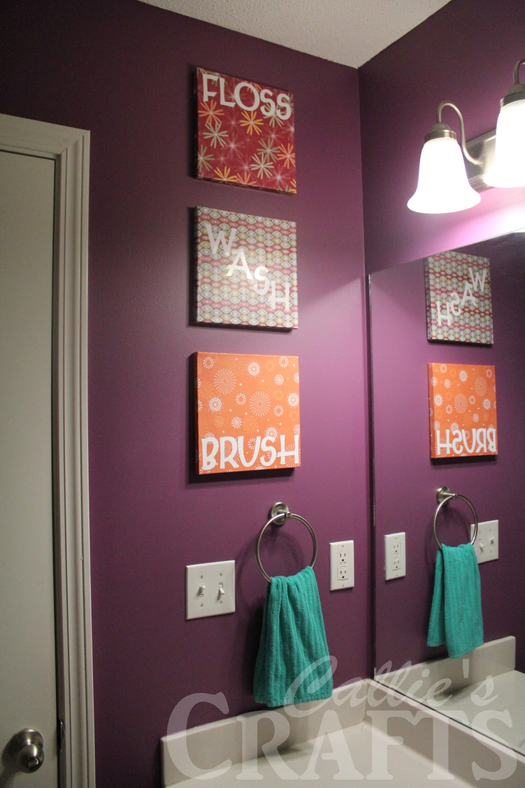Callie 39 s crafts bathroom art - Purple paint colors for bathrooms ...