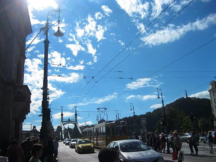 Budapest tram blue sky sun