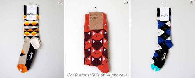 orange triangle socks, fox socks, blue argyle socks, Happy Socks giveaway, freebie
