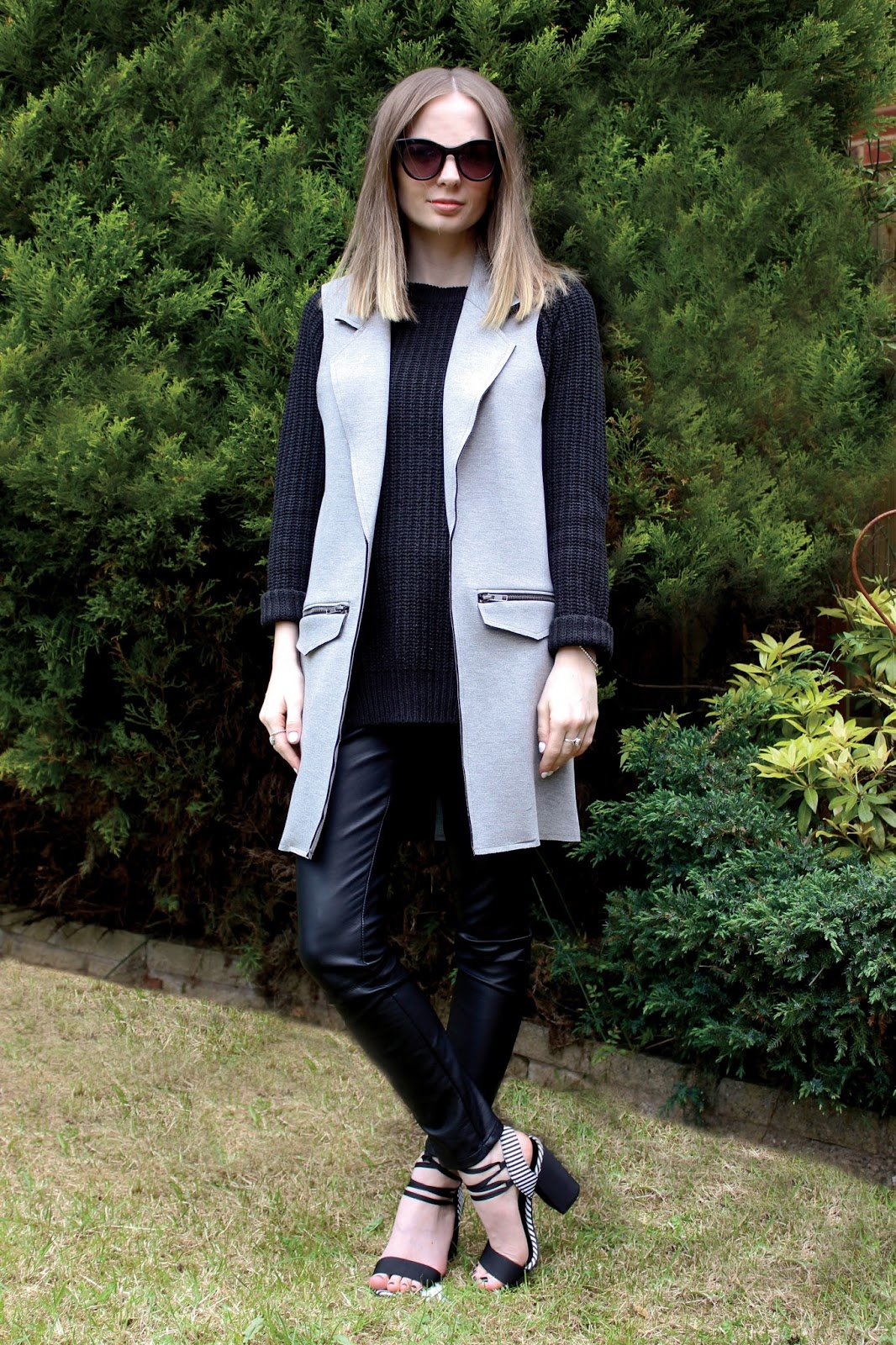Topshop Grey Sleveless Ponte Jacket & New Look Sweeny Block Heeled Sandals