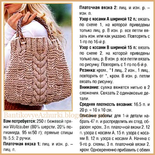 Как связать бежевую сумку с крупной косой спицами (описание)