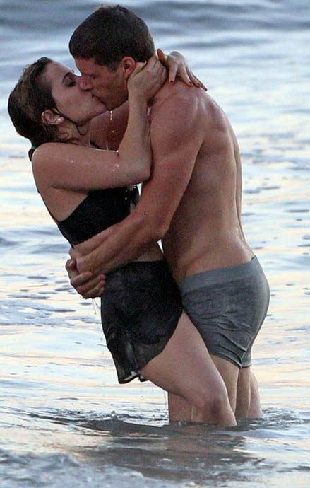 Mae Whitman And Matt Lauria Embrace While Walking Out Of The Ocean
