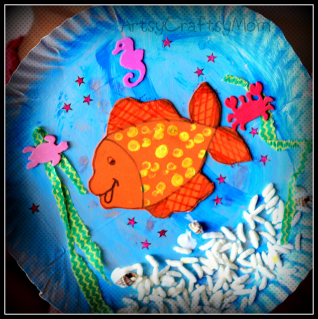 Paper plate aquarium fish diorama artsy craftsy mom for Craft work for class 3