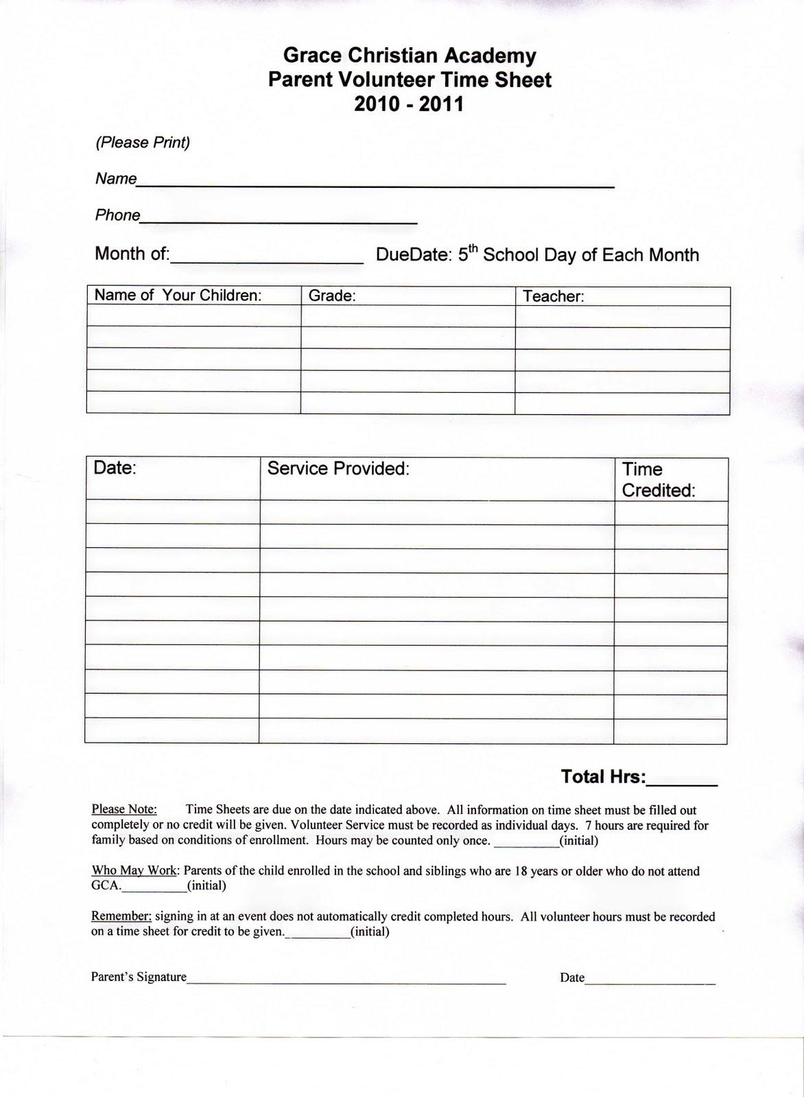 school volunteer form template