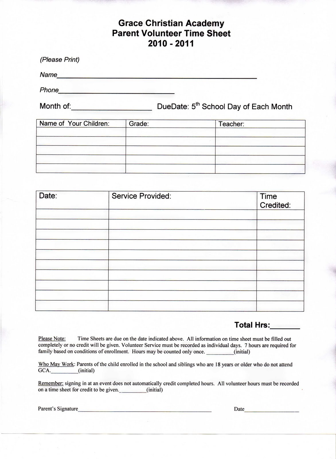 Volunteer Hours Form Pictures to Pin PinsDaddy – Service Hour Form