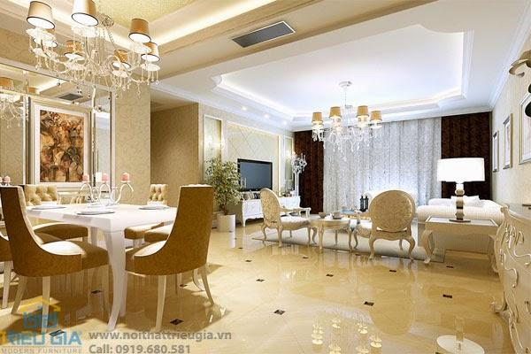 thiết kế nội thất phòng khách mang phong cách cổ điển châu Âu