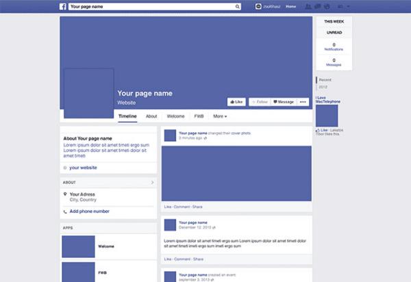 Facebook 2014 page mockup