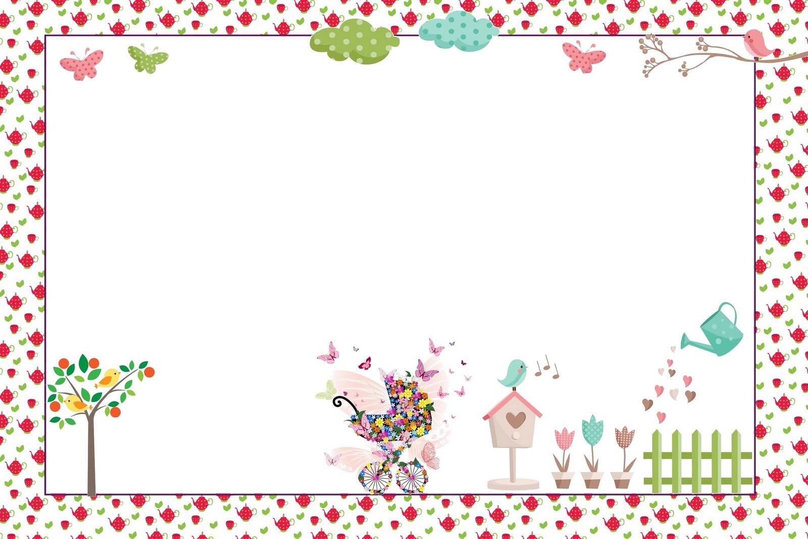 Convites para imprimir  Tema Jardim Encantado