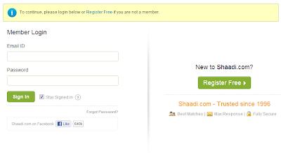 Shaadi.com login