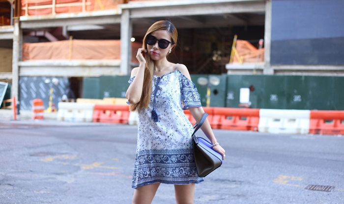 Shein off shoulder tassel dress, celine edge bag, karen walker super duper sunglasses, keds originals leather casual outfit, street style, nyc street style, fashion blog, casual outfit, how to dress down off shoulder dress, white sneakers outfit