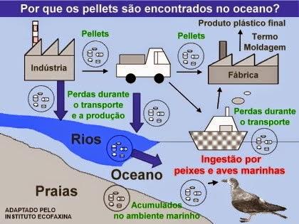Por que os pellets são encontrados nos oceanos?