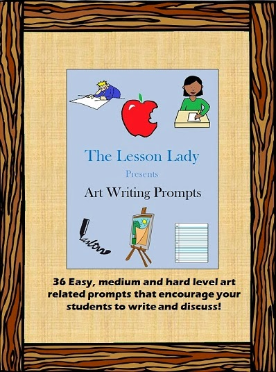 http://www.teacherspayteachers.com/Product/Art-Writing-Prompts-and-Discussion-Topics-1128795