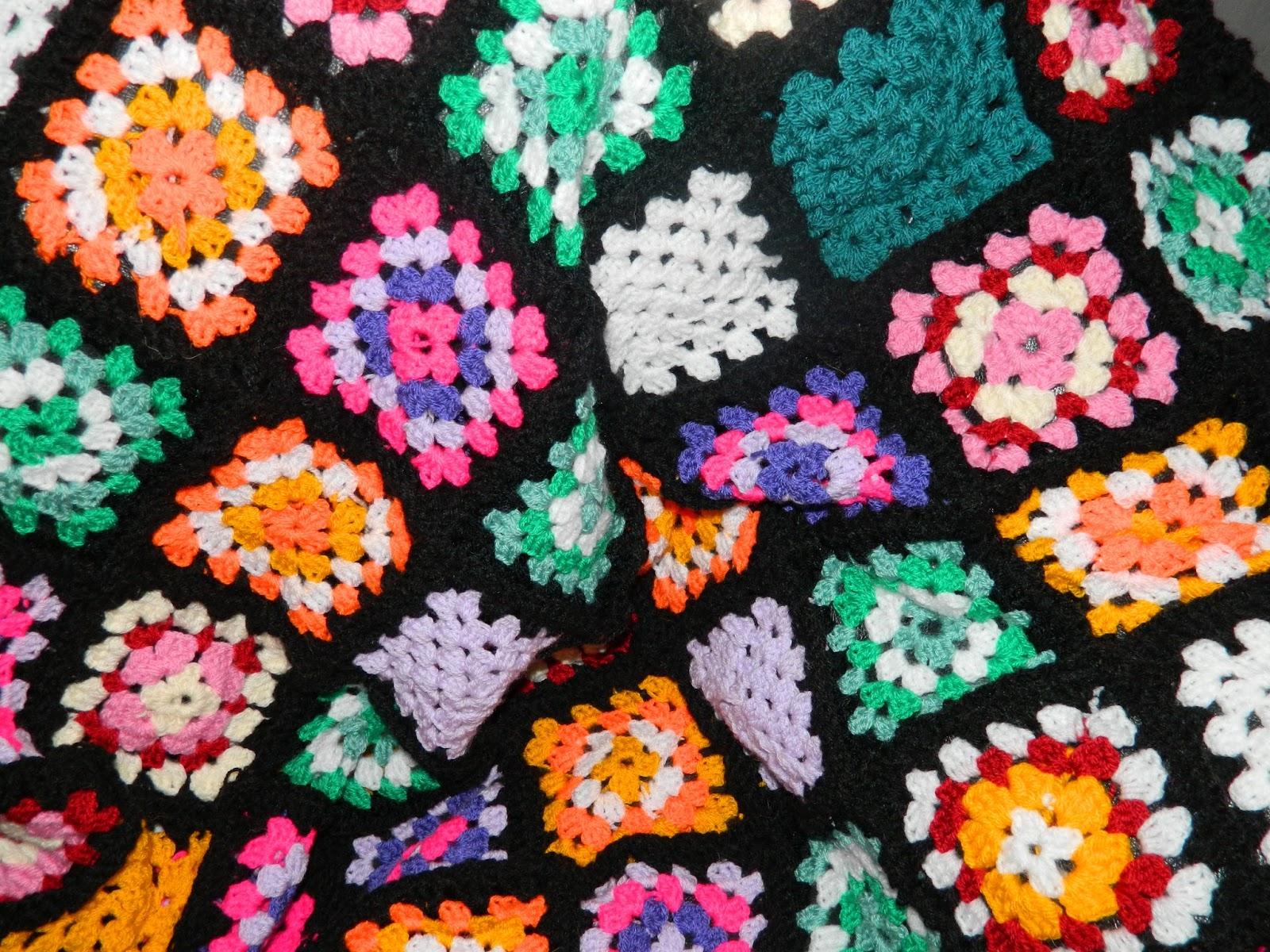 colour burst afghan throw, granny squares
