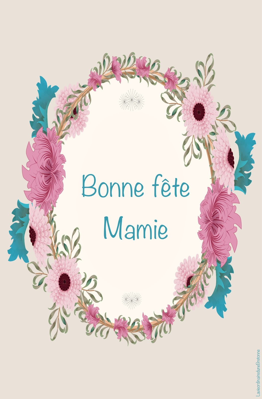 La vie ordinaire d 39 une bretonne free printable carte bonne f te mamie - Carte bonne fete mamie a imprimer ...