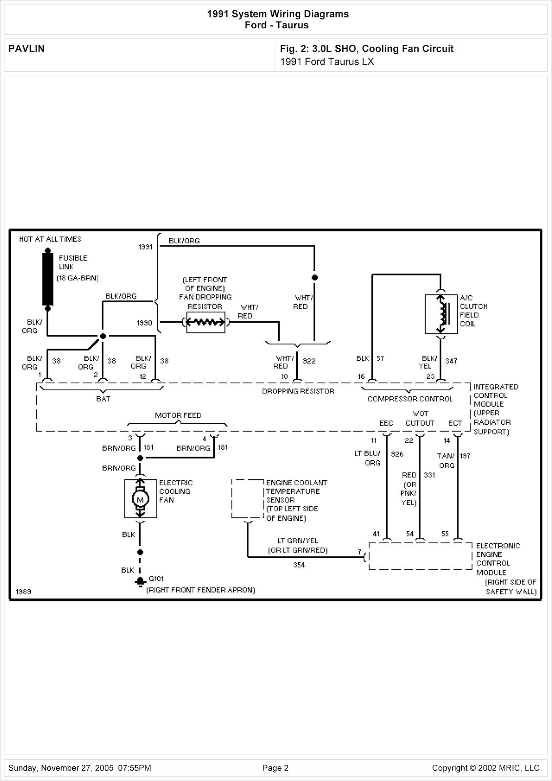 1999 Ford Taurus System Wiring Diagram cooling Fan Circuit ...