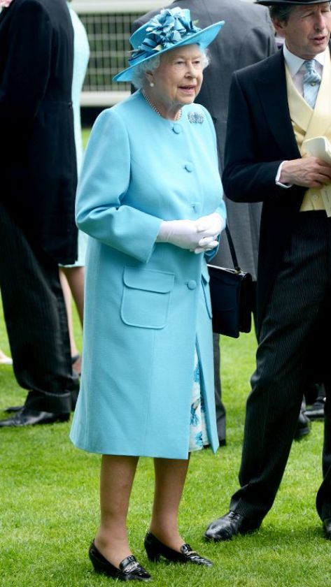 Queen Elizabeth opted for a turquoise Angela Kelly coat and matching Rachel Trevor-Morgan hat on Ladies' Day of Royal Ascot 2014
