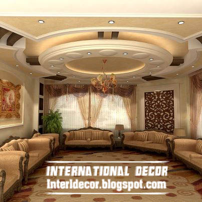 Contemporary gypsum ceilings suspended ceiling interior designs international decoration - Living room ceiling interior designs ...