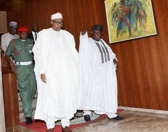 Obasanjo visits Buhari in Aso Rock state house.
