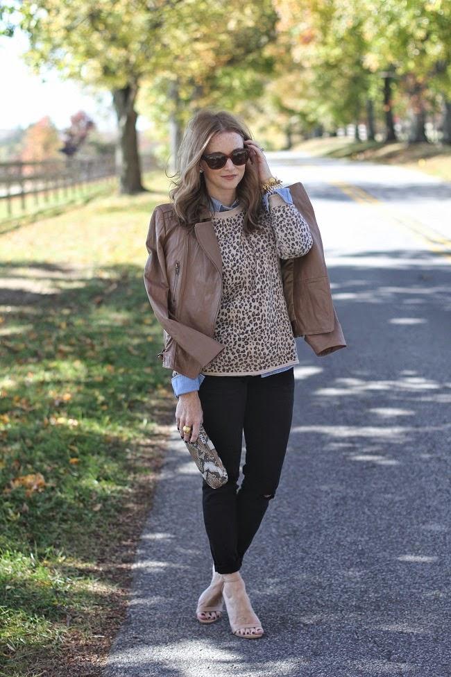jcrew chambray, autumn leopard print cashmere, jcrew blacksmith jeans, snake print clutch, ray ban sunglases, julie vos bracelet