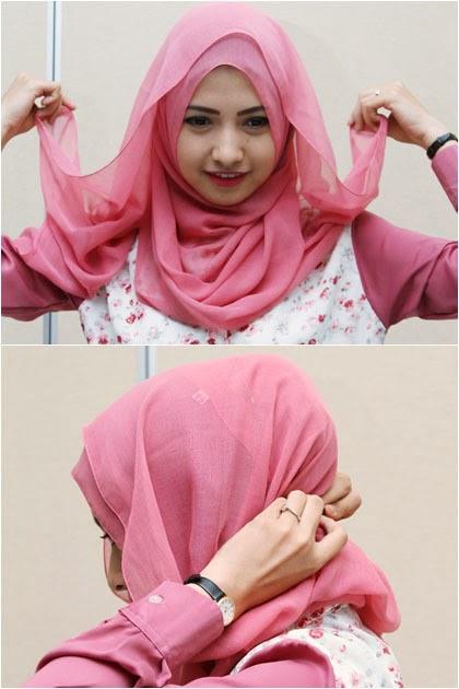 Cara memakai jilbab formal menggunakan jilbab segiempat 5
