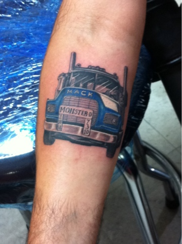 18 wheel beauties the hunt for big rig tattoos for Truck tattoos designs