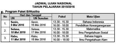 Jadwal UN Utama dan Susulan Program Paket B/Wustha  tahun 2016