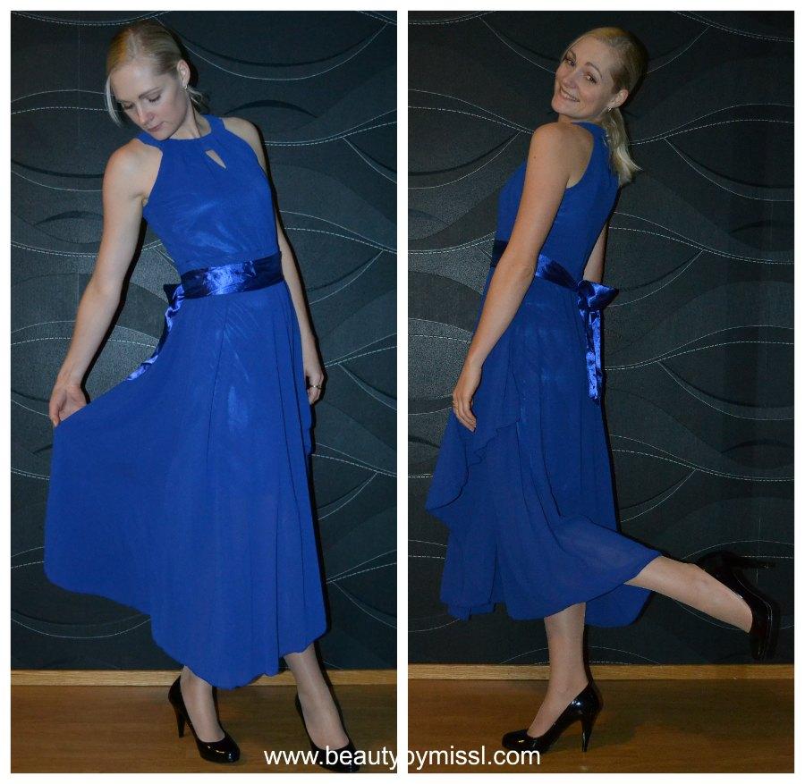 royal blue chiffon dress from Sammydress