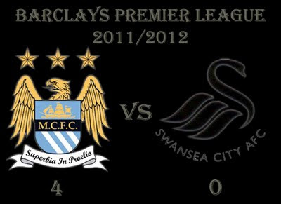 Manchester City (4) vs (0) Swansea City Barclays Premiership Results