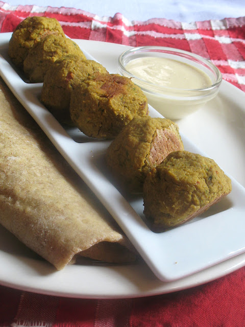 Baked Pumpkin Falafel with Tahini Lemon Sauce