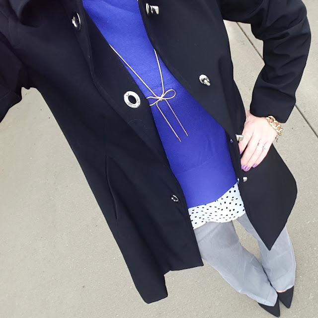 Anne Klein Nylon Jacket (similar) // Mossimo Sweater // LC Lauren Conrad Blouse // Express Editor Pants // Signature by Report Heels (only $27, regular $90!) // Purple Peridot Bow Necklace - only $15! // BaubleBar Chain Link Bracelet (similar)