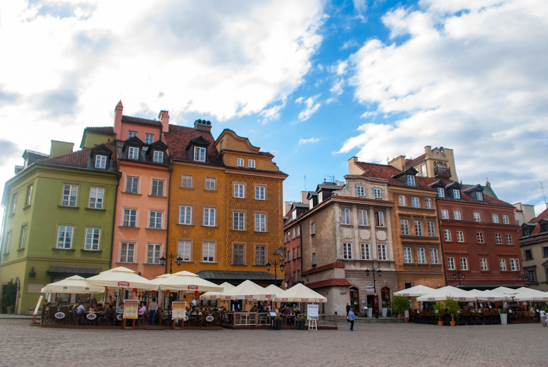 Pictures of the old town castle square in warsaw poland