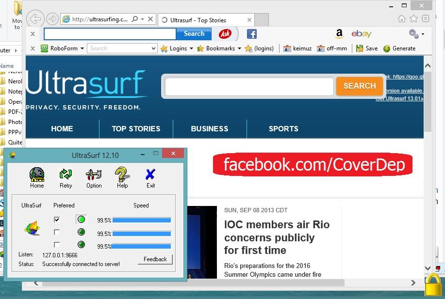 Đăng nhập facebook bằng phần mềm Ultrasurf - dang nhap facebook