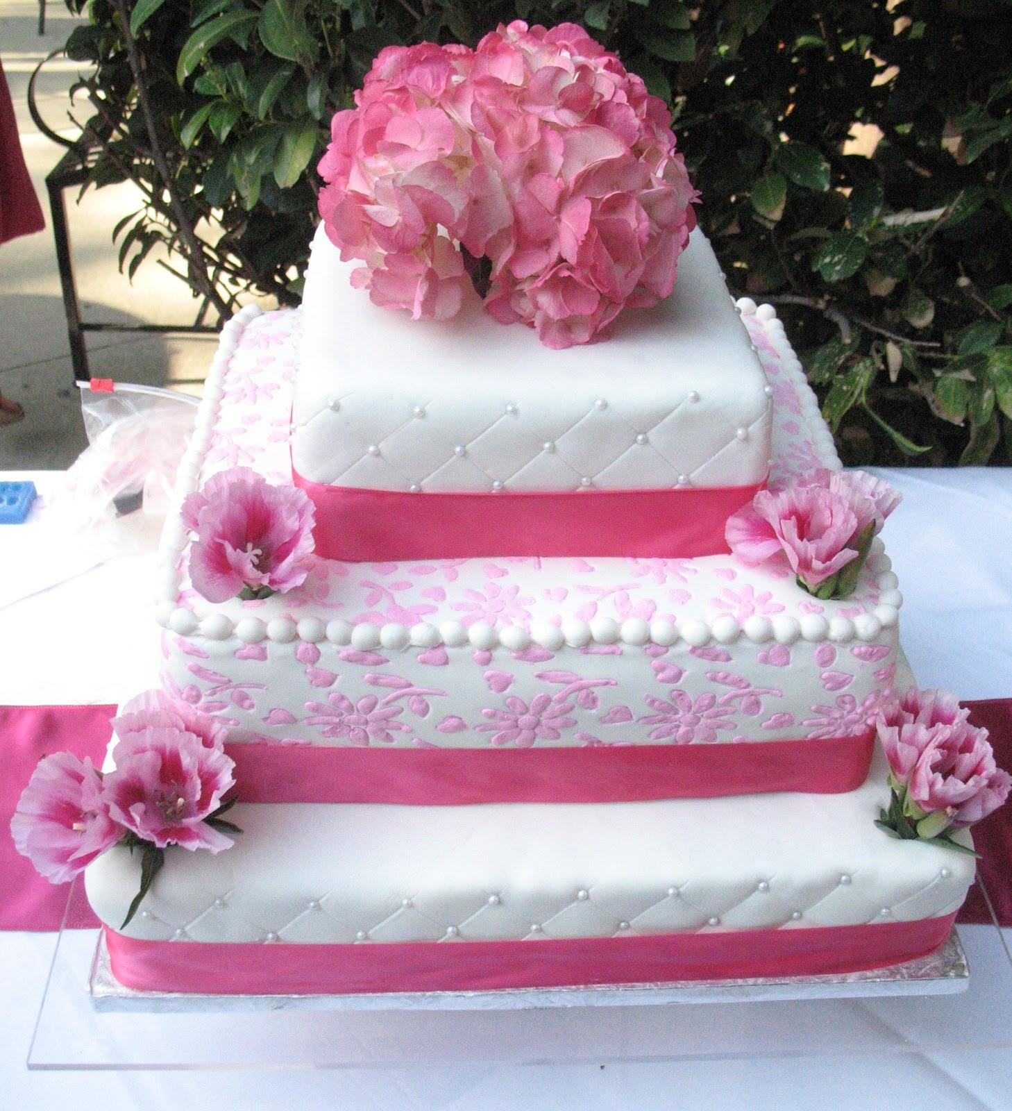 Js Cakes Pink Flowers Wedding Cake