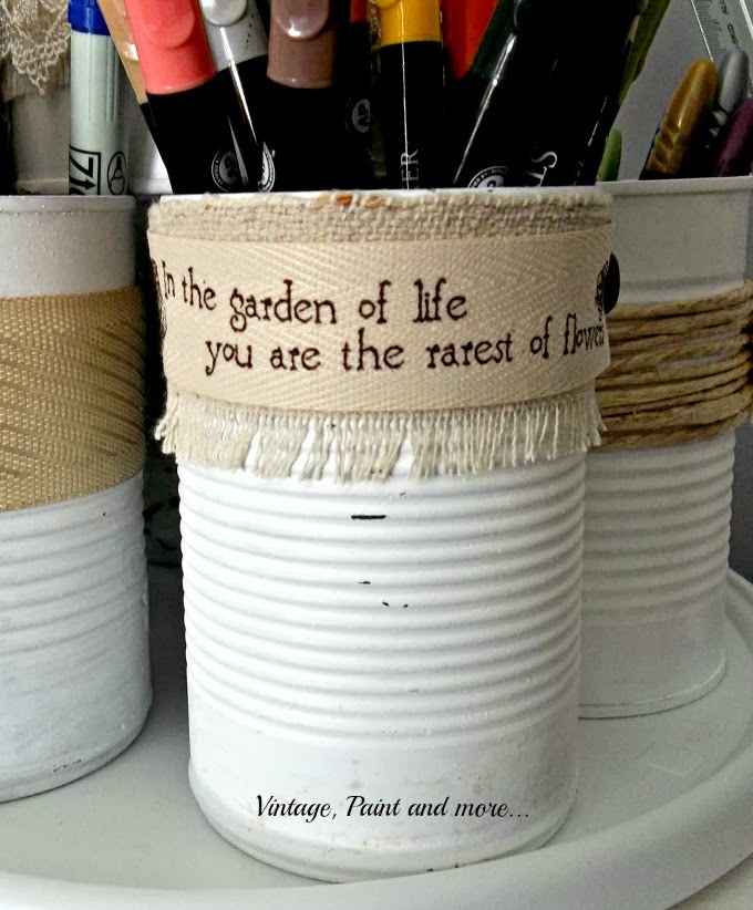 Tin Can Therapy - painted tin can with quote ribbon