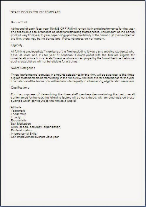 Bonus letter template sample template example of employee bonus policy guidelines in word maxwellsz