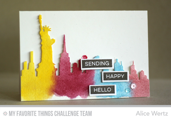 Happy Hello Card by Alice Wertz featuring the Label Maker Sentiments stamp set and the Lable Tape and New York Skyline Die-namics #mftstamps