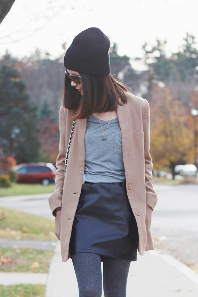 HM camel coat, designer fashion blogger, HM beanie, Jcrew necklace, HM leather skirt, Adidas sneaker, forever 21 purse, bianco brown sunglasses